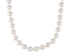 Cultured Japanese Akoya Pearl Rhodium Over Sterling Silver Necklace 6-6.5mm
