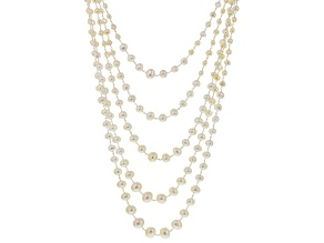 White Cultured Freshwater Pearl Rhodium Over Silver Necklace 6-11mm