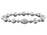 Cultured Freshwater Pearl With Diamond Simulant Rhodium Over Silver Bracelet Set 3.5-7mm
