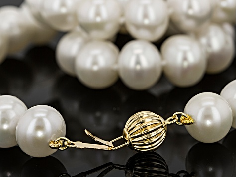 White Cultured Freshwater Pearl 14k Yellow Gold Strand Necklace 10-11mm