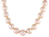 Peach Cultured Freshwater Pearl 14k Yellow Gold Strand Neclace 8.5-11.5mm