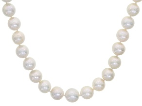 White Cultured Freshwater Pearl 14k Yellow Gold Strand Necklace 8.5-11.5mm