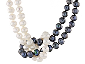 Cultured Freshwater Pearl Rhodium Over Silver 2 Strand Necklace 8.5-9.5mm