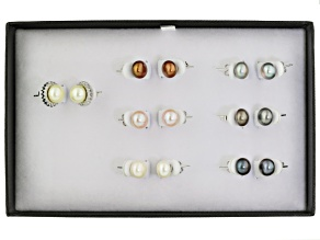 Cultured Freshwater Pearl With Zircon Rhodium Over Silver Earring Set 8.5-9mm
