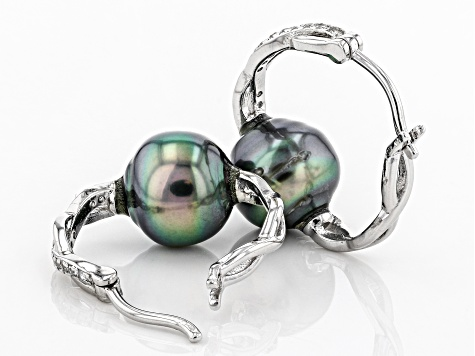 Cultured Tahitian Pearl With White Topaz Rhodium Over Silver Earring 9mm