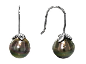 Cultured Tahitian Pearl, Rhodium Over Sterling Silver Earrings 9mm
