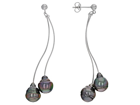 Cultured Tahitian Pearl Rhodium Over Sterling Silver Earrings 9mm