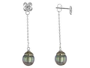 Cultured Tahitian Pearl With White Topaz Rhodium Over Silver Earrings 9mm