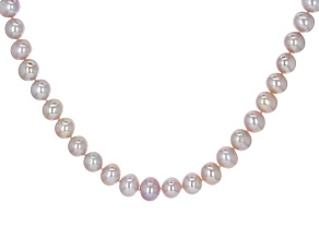 Lavender Cultured Freshwater Pearl Rhodium Over Silver Necklace 9-10mm