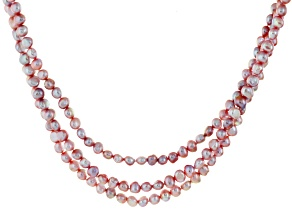 Pink Cultured Freshwater Pearl Rhodium Over Silver Multi-Strand Necklace 7-8mm