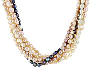 Cultured Freshwater Pearl Rhodium Over Silver Multi-Strand Necklace 6-8mm
