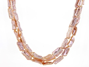 Peach Cultured Freshwater Pearl Rhodium Over Silver Necklace 4-9mm