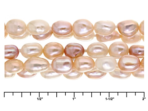 Cultured Freshwater Pearl Rhodium Over Silver Multi-Strand Necklace 5-6mm