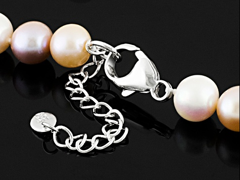 Cultured Freshwater Pearl Rhodium Over Sterling Silver Necklace 9-10mm