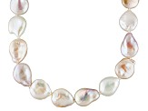 Cultured Freshwater Pearl Rhodium Over Sterling Silver Necklace 13-14mm