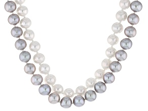 Cultured Freshwater Pearl Rhodium Over Silver Double Strand Necklace 8-9mm