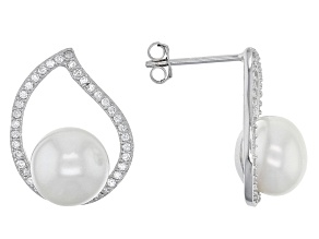 Cultured Freshwater Pearl, Diamond Simulant Rhodium Over Silver Earring 8-9mm
