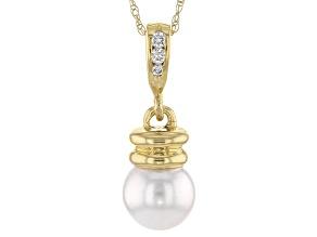 Cultured Japanese Akoya Pearl And Diamond 14k Yellow Gold Pendant 8-9mm