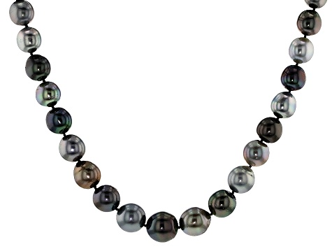 Cultured Tahitian Pearl Rhodium Over Silver Strand Necklace 11-14mm