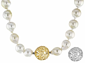 Cultured South Sea Pearl Rhodium & 18k Yellow Gold Over Silver Necklace 11-13mm