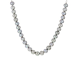 Cultured Freshwater Pearl Rhodium Over Silver Sliding Necklace 8mm