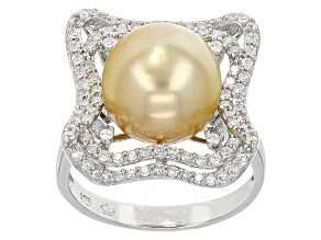 Golden Cultured South Sea Pearl With White Zircon Rhodium Over Silver Ring 11mm