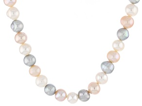 Cultured Freshwater Pearl Rhodium Over Silver Necklace 8mm