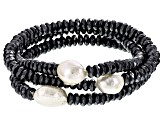 Cultured Freshwater Pearl With Hematine Stretch Bracelet Set Of 3 11-12mm