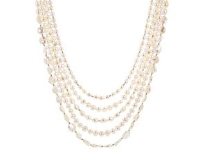 Cultured Freshwater Pearl, Diamond Simulant Rhodium Over Silver Necklace 6-13mm