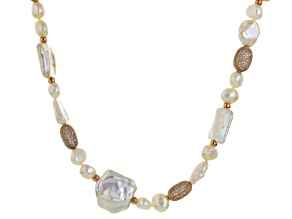 Cultured Freshwater Pearl, Diamond Simulant 18k Rose Gold Over Silver Necklace