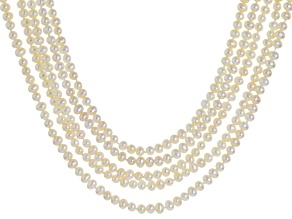 Cultured Freshwater Pearl Rhodium Over Sterling Silver Necklace 4.5-5mm