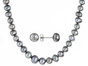 Cultured Freshwater Pearl Rhodium Over Silver Necklace And Earring Set 5-10mm