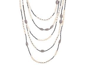 Cultured Freshwater Pearl, Diamond Simulant And Hematine Rhodium Over Silver Necklace
