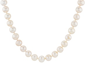 Cultured Freshwater Pearl Rhodium Over Sterling Silver Necklace 10-11mm