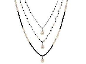 Cultured Freshwater Pearl With Hematine Rhodium Over Silver Necklace 4-9.5mm