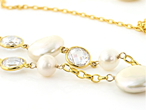 Cultured Freshwater Pearl With Crystal 18k Yellow Gold Over Silver 7-14mm