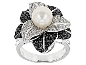 Cultured Freshwater Pearl With Zircon And Spinel Rhodium Over Silver Ring 7.5-8mm