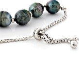 Cultured Tahitian Pearl Rhodium Over Silver Bracelet 10-11mm