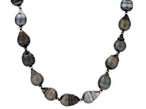 Cultured Tahitian Pearl Rhodium Over Silver Necklace 10-11mm