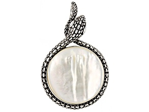 White Natural Mother-Of-Pearl Rhodium Over Sterling Silver Pendant 30mm