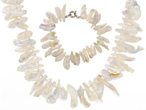 Cultured Freshwater Pearl Rhodium Over Silver Necklace And Bracelet Set 5-7mm