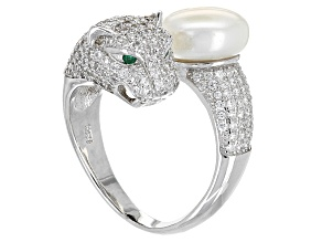 Cultured Freshwater Pearl, Diamond Simulant Rhodium Over Silver Ring 10-11mm