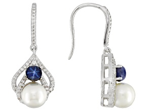 Cultured Freshwater Pearl With Sapphire, Zircon Rhodium Over Silver Earrings 7.5-8mm