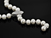 Cultured Freshwater Pearl, Diamond Simulant Rhodium Over Silver Necklace 8-9mm