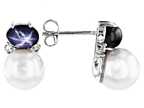 Cultured Freshwater Pearl With Sapphire, Zircon Rhodium Over Silver Earrings 8.5-9mm