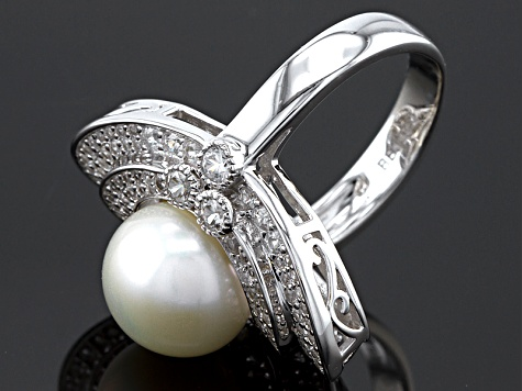 Cultured Freshwater Pearl With Zircon Rhodium Over Silver Ring 11-11.5mm