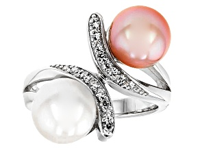 Cultured Freshwater Pearl With Zircon Rhodium Over Silver Ring 8.5-9mm