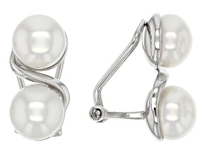 White Cultured Freshwater Pearl Rhodium Over Silver Clip-On Earrings 7-8mm