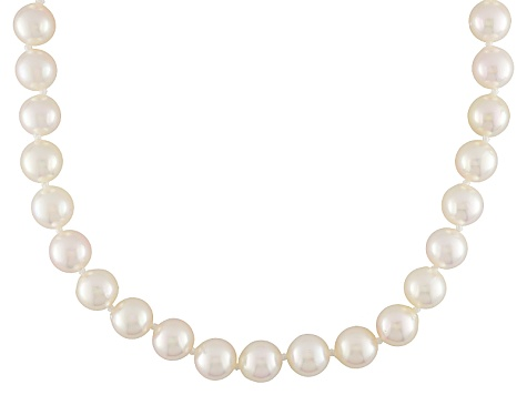 White Cultured Japanese Akoya Pearl Rhodium Over Silver Necklace 6.5-7mm