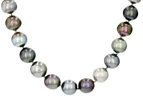 Cultured Tahitian Pearl Rhodium Over Silver Necklace 8-12mm